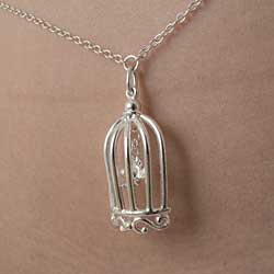 CHT125 Silver Waist Chain with Bird in a Cage Pendant